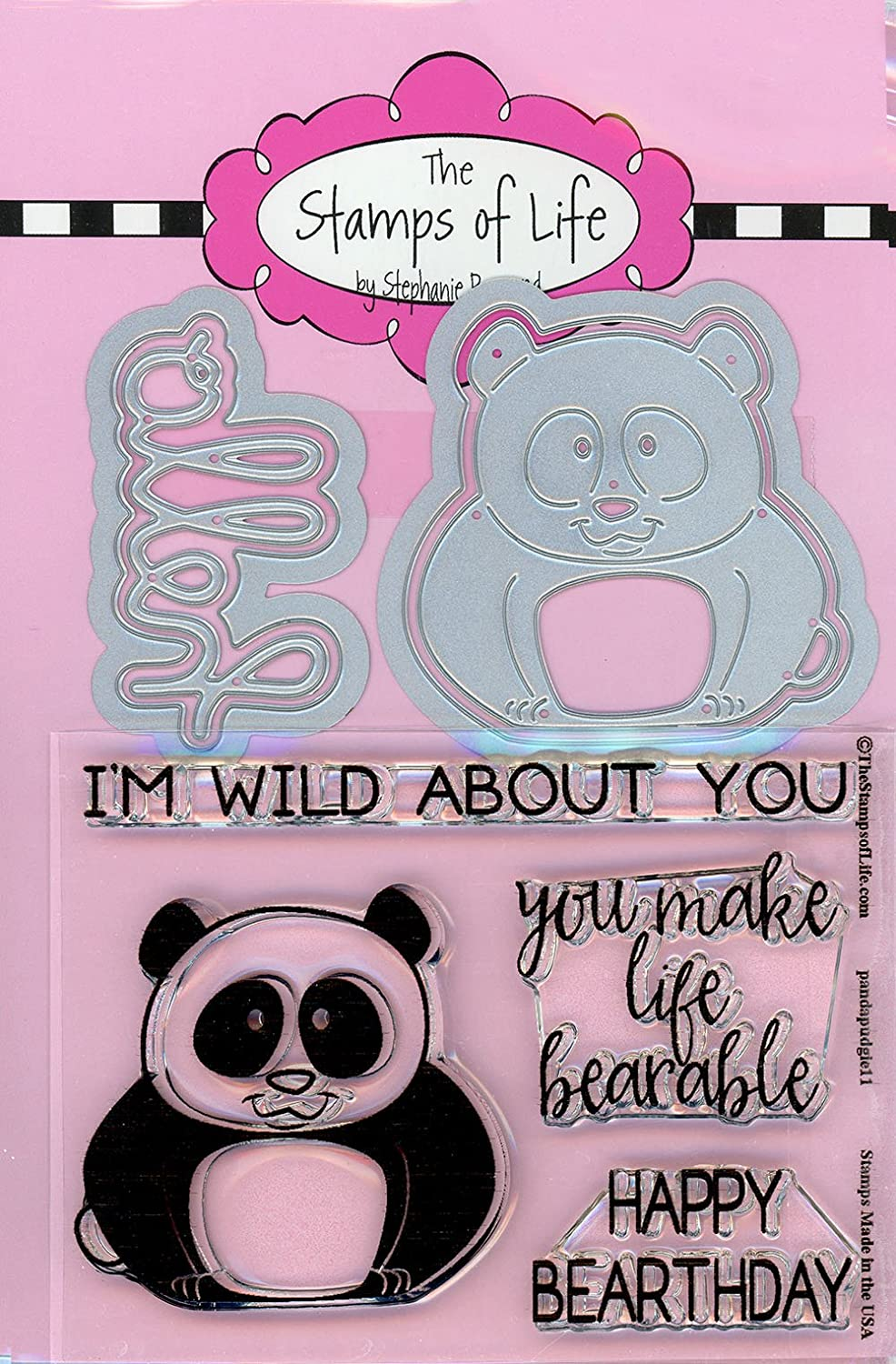 Animal Panda Stamp and Die Combo Pack for Card-Making and Scrapbooking Supplies by The Stamps of Life - Panda Pudgie