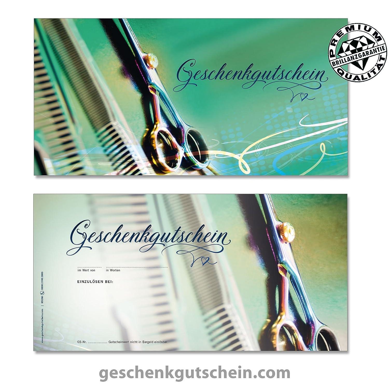 """50 Stk. Gutscheinkarten """"DIN lang"""" + 50 Stk. Kuverts für Friseure, Coiffeure, Haarstudios, Hairstylisten K9286, LIEFERZEIT 2 bis 4 Werktage ! geschenkgutschein.com"""