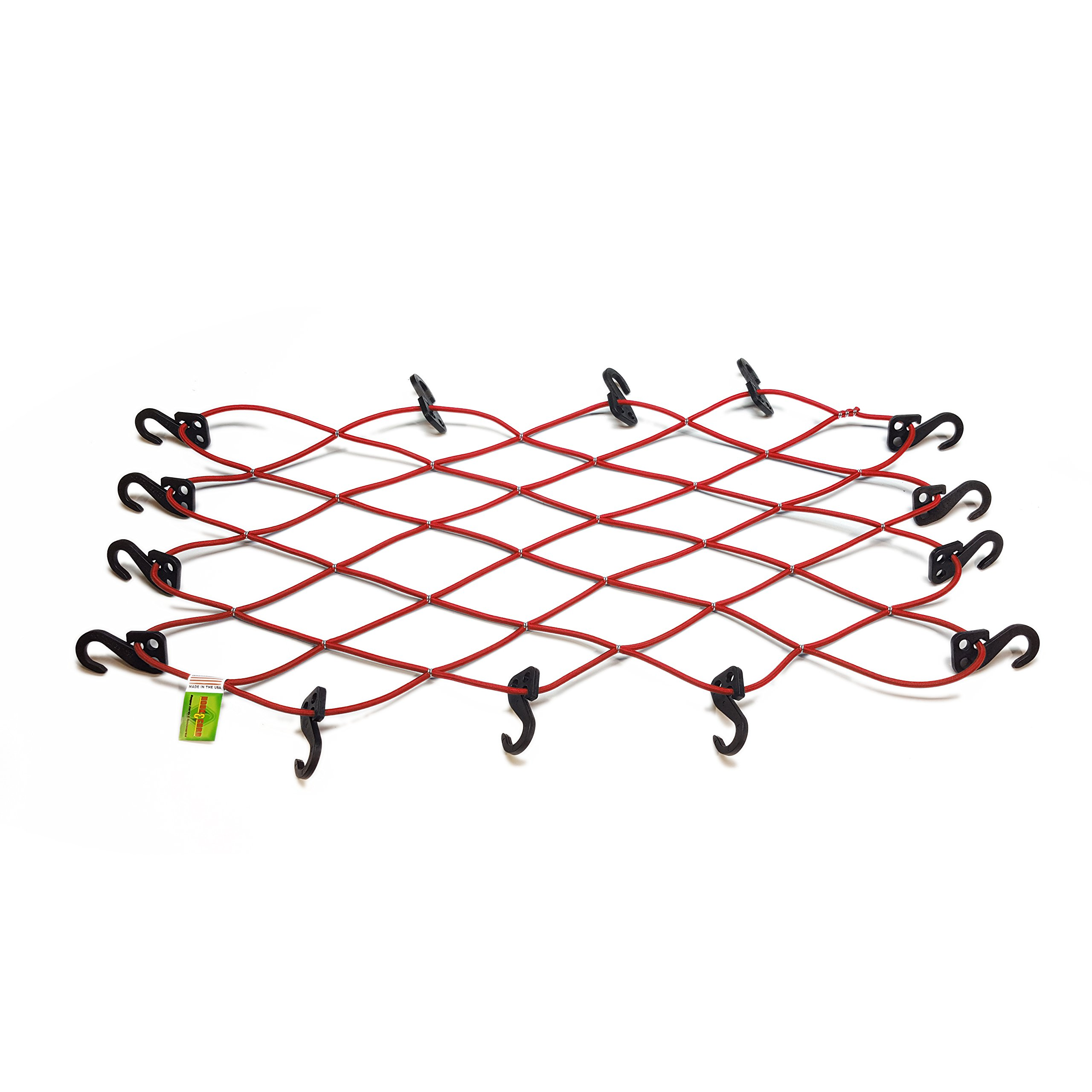 1/4'' Standard Duty Bungee Cord Cargo Net 28 Inches X 36 Inches with 14 SIQCN''Secure It Quick Cargo Net'' Hooks USA Made HC 5416 (Red)