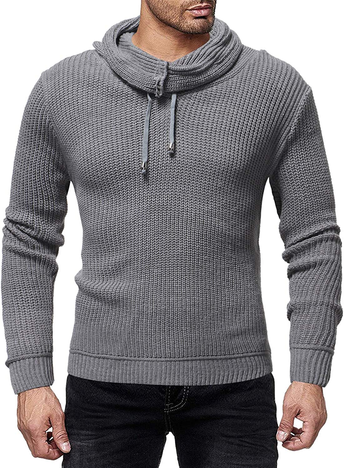 Friendshiy Popular Mens Sweater Pullover Male Casual Slim Sweaters Men High-Solid Color Hedging O-Neck Mens Sweater,X-Large,Gray