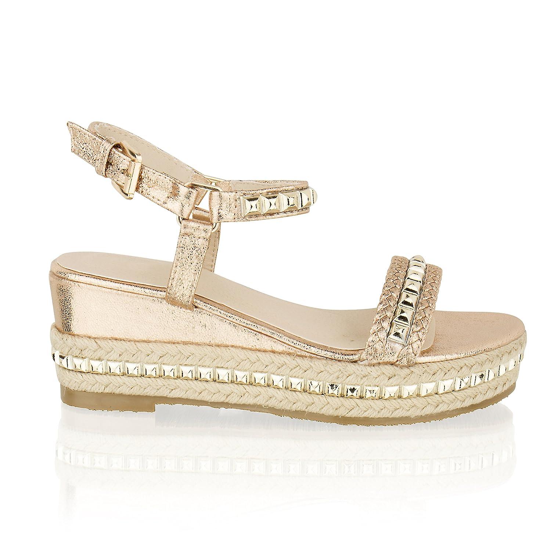 2213df4524ca Taylor-Unikue Womens Ladies Low Wedge Heel Espadrille Platform Stud Strappy Summer  Sandals  Amazon.co.uk  Shoes   Bags