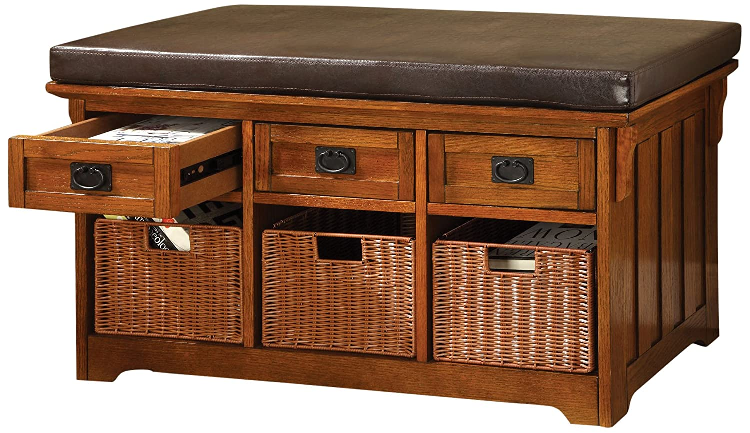 amazoncom furniture of america victoria 42inch wide storage entryway bench with baskets antique oak kitchen u0026 dining