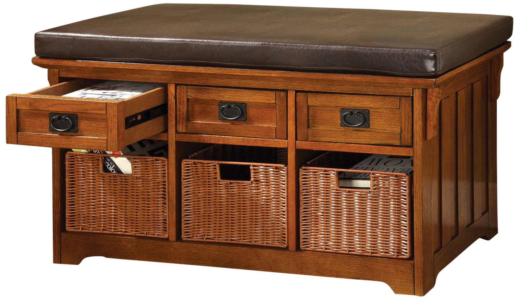 Furniture of America Victoria 42-Inch Wide Storage Entryway Bench with Baskets, Antique Oak