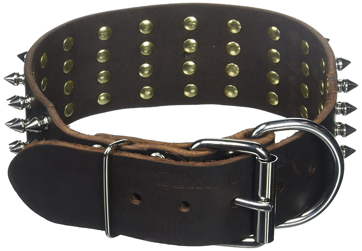 Dean and Tyler  4 ROW SPIKES , Extra Wide Dog Collar with Strong Nickel Spikes Brown Size 20-Inch by 2-1 4-Inch Fits Neck 18-Inch to 22-Inch