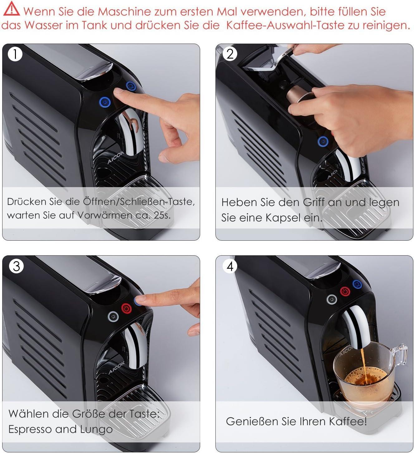 Aicok Cafetera, Nespresso Cafetera, Cafetera de Cápsulas, 20 Bares ...