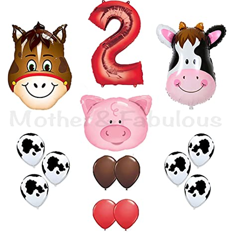 2nd Birthday Farm Barn Animal Party Balloons Cow Donkey And Pig With 12quot 32