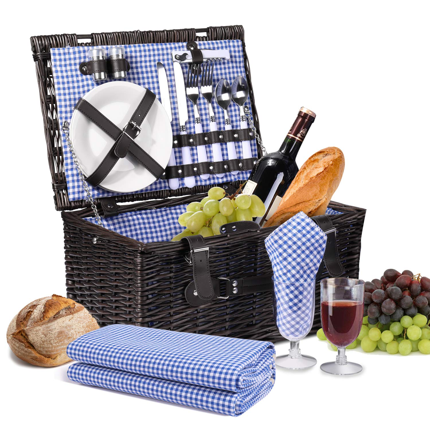 Flexzion Picnic Basket Set for 2 Person/Rectangular Tote Hamper Kit - Insulated Waterproof Wicker Picnic Blanket w/Plate Metal Flatware Table Supplies Wine Glasses Bottle Opener Blue Gingham Lining by Flexzion