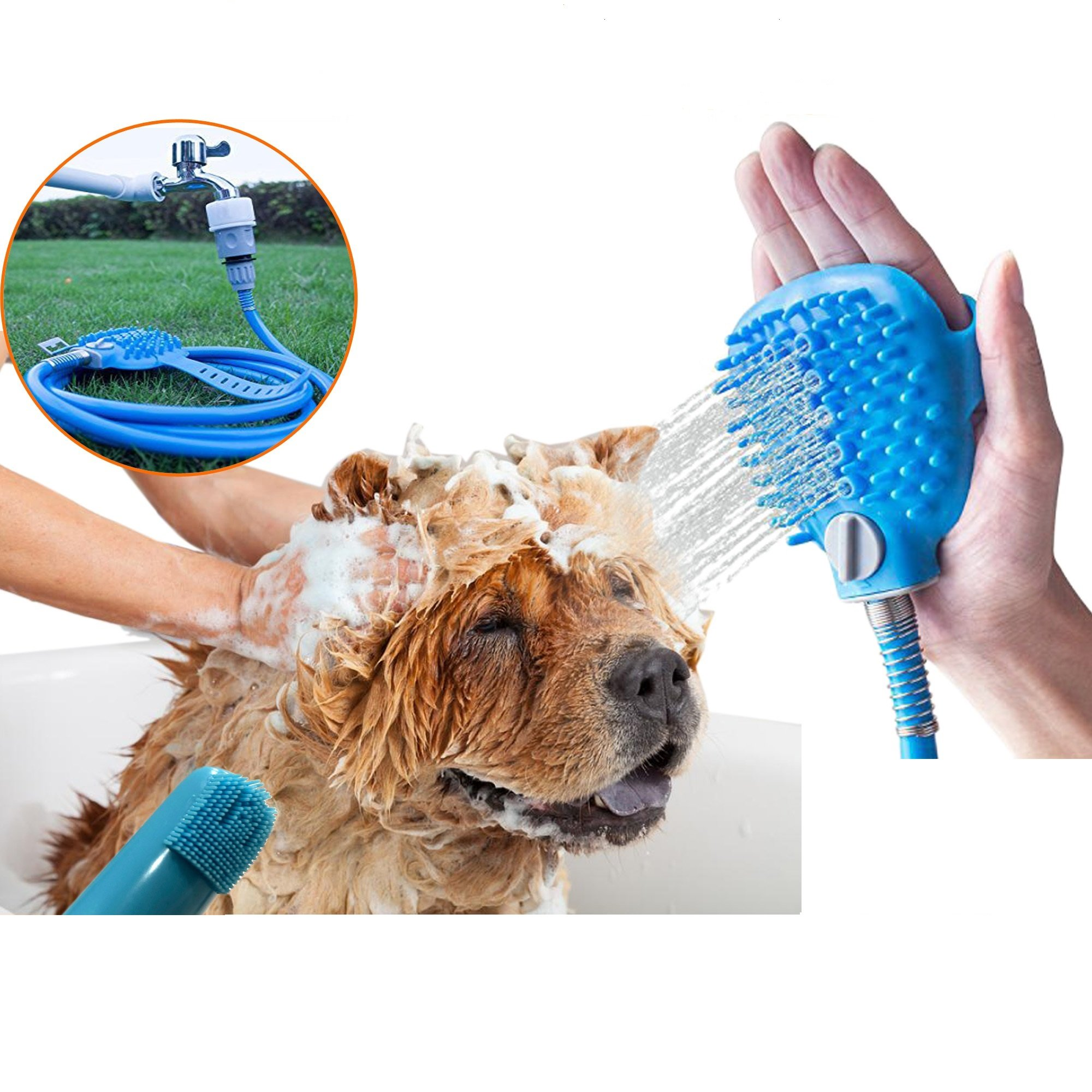 Pet Shower Sprayer Bathing Tool,Dog and Cat Multi-Functional Sprayer And Scrubber 2 in 1 Complete Grooming Kit,Indoor and Outdoor Use With 4 Faucet Adapters Combo With Soft Silicone Toothbrush
