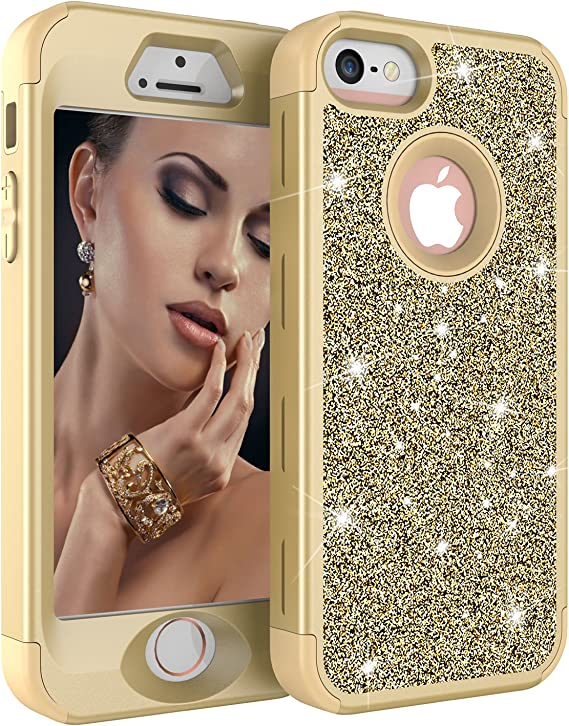 Amazon Com Iphone 5s Case Iphone 5 Case Iphone Se Case Dooge Luxury Glitter Sparkle Bling Shiny Slim Fit Full Body Hybrid Heavy Duty Hard Shell Shockproof Protective Cover For Apple Iphone 5s 5 Se Golden