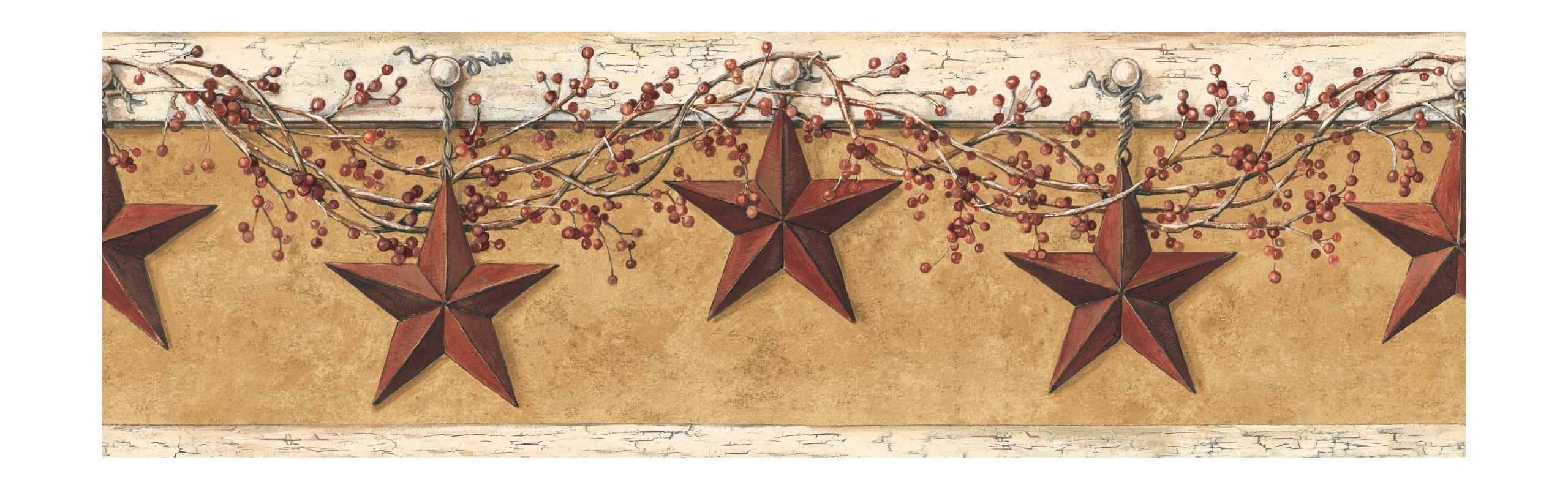 York Wallcoverings HK4663BDSMP Best Of Country Hanging Star 8-Inch x 10-Inch Wallpaper Border Memo Sample, Mustard/Cream