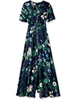 Women's Bohemian Button Up Split Floral Print Short Sleeve V-neck Party Maxi Dress