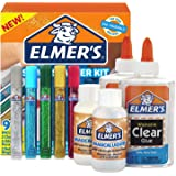 Elmer's Slime Starter Kit, Clear School Glue, Glitter Glue Pens and Magical Liquid Activator Solution, 9 Count