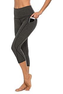 CLOZZ.U High/Waist/Yoga/Pants/with/Pockets/for/Women/Tummy/Control/Cropped/Workout/Legging/Capri/Length/Black
