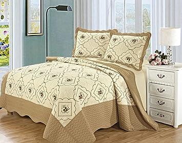 3 Stück Gesteppte Tagesdecke Schlafzimmer Werfen Bestickt Umkehrbarer  Bettüberwurf Sommer Bettwäsche Set (König (240