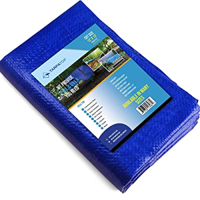 Waterproof Tarp Multi-Purpose 12x12-Blue Poly Tarpaulin with Aluminum Grommets-Rot, Rust and UV Resistant-Cover and Emergency Protector Shelter-for Cars, Boats, Construction Contractors, Camper.