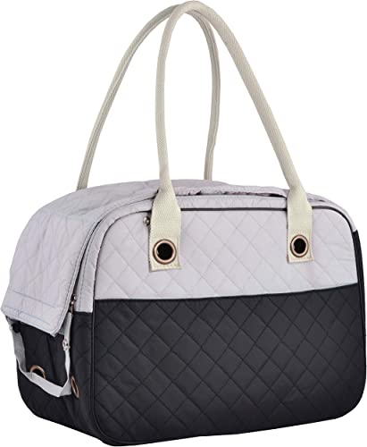 MG Collection Stylish 2 Tone Quilted Soft Sided Travel Dog and Cat Pet Carrier Tote Hand Bag