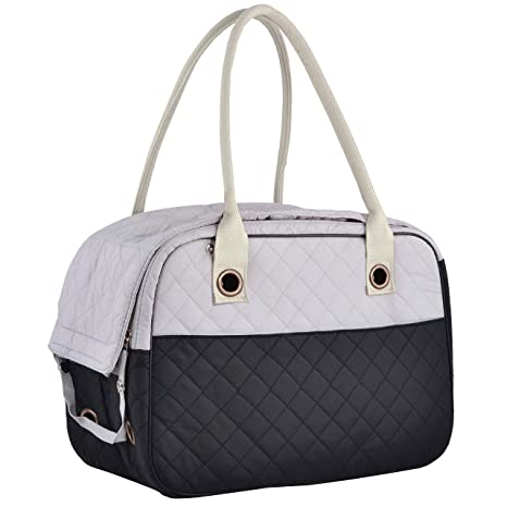 935b5e0a2363 MG Collection Black/Gray Designer Inspired Stylish Quilted Soft Sided Travel  Dog and Cat Pet