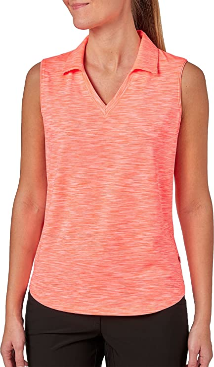 b66f7a258e2aa6 Lady Hagen Women s Essentials Space Dye Sleeveless Golf Polo (Coral  Carnival