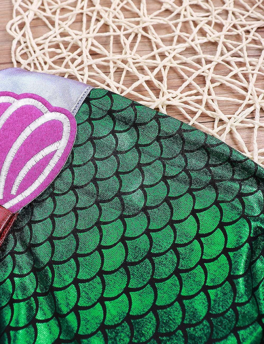 Baby Girl Swimsuit One Piece Mermaid Princess Bikini Swim Bathing Suit+Headband 2Pcs Swimwear