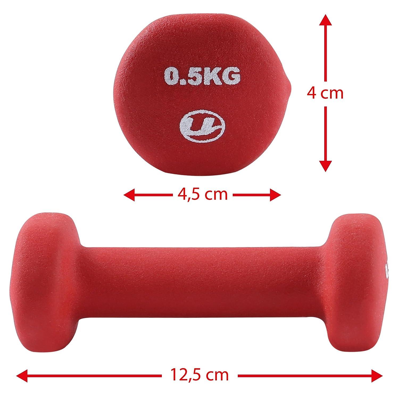 Ultrasport 331100000027 - Pesas gimnásticas de goma, 2 x 0.5 kg: Amazon.es: Deportes y aire libre