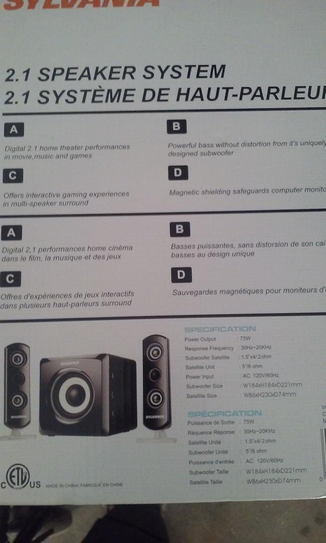 Amazon.com: Sylvania 2.1 Speaker System - Sylvania SHTIB1044: Electronics