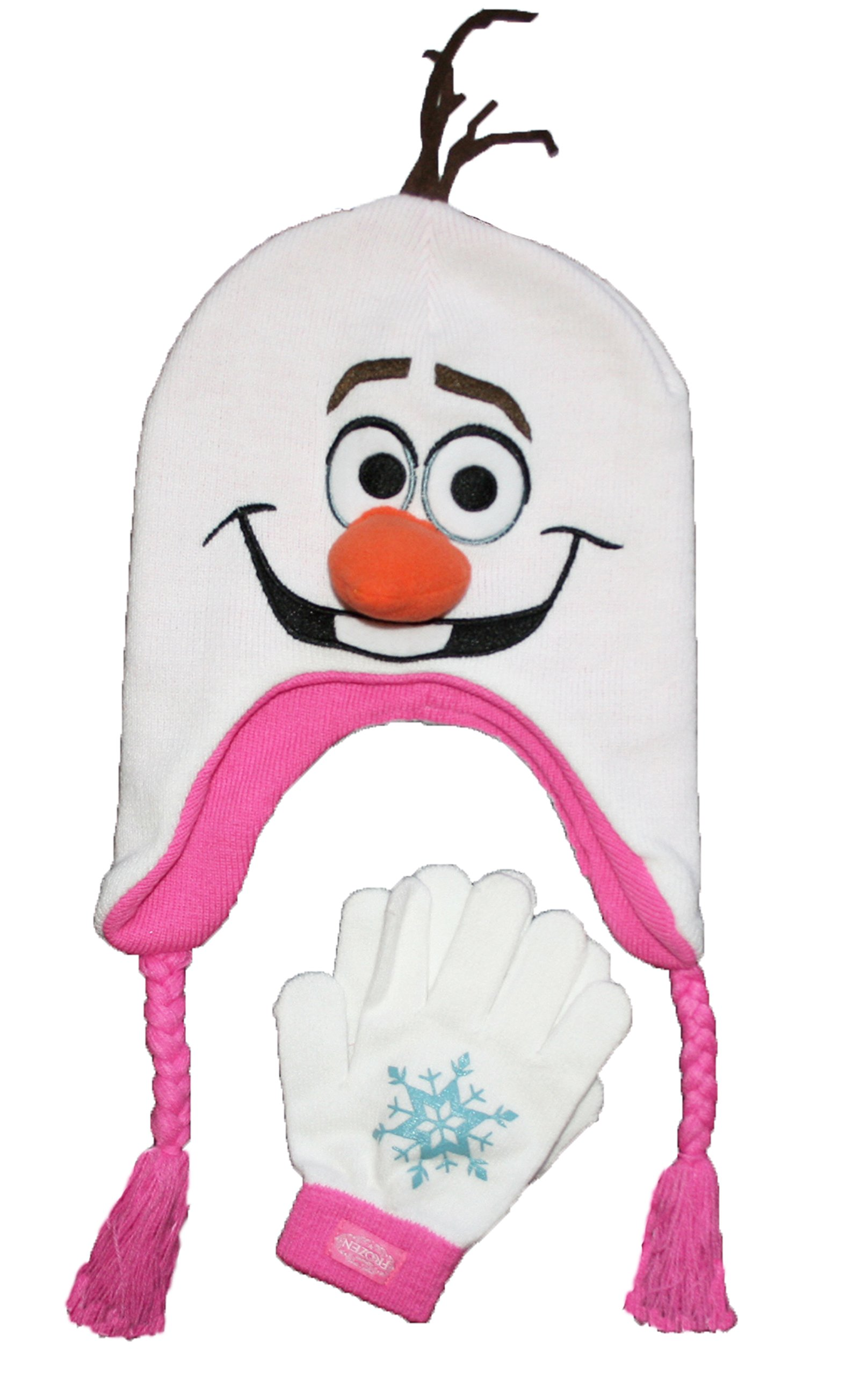 Disney Frozen Girls' Olaf Hat & Mittens Set - Pink (One Size Fits Most)