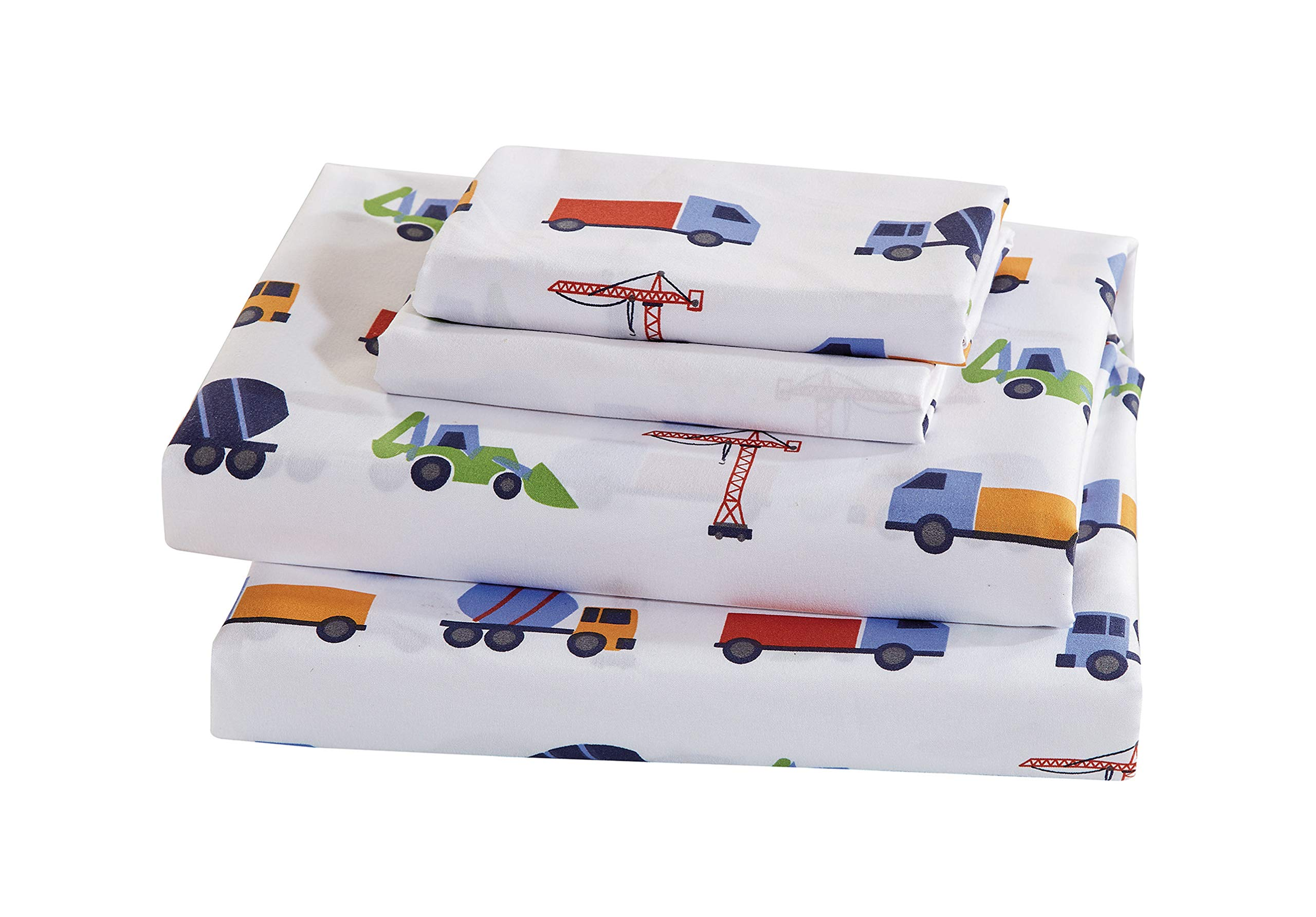 Luxury Home Collection Kids 4 Piece Queen Sheet Set Construction Vehicles Trucks Cement Blue Red White Green Yellow (Queen Sheet) by Luxury Home