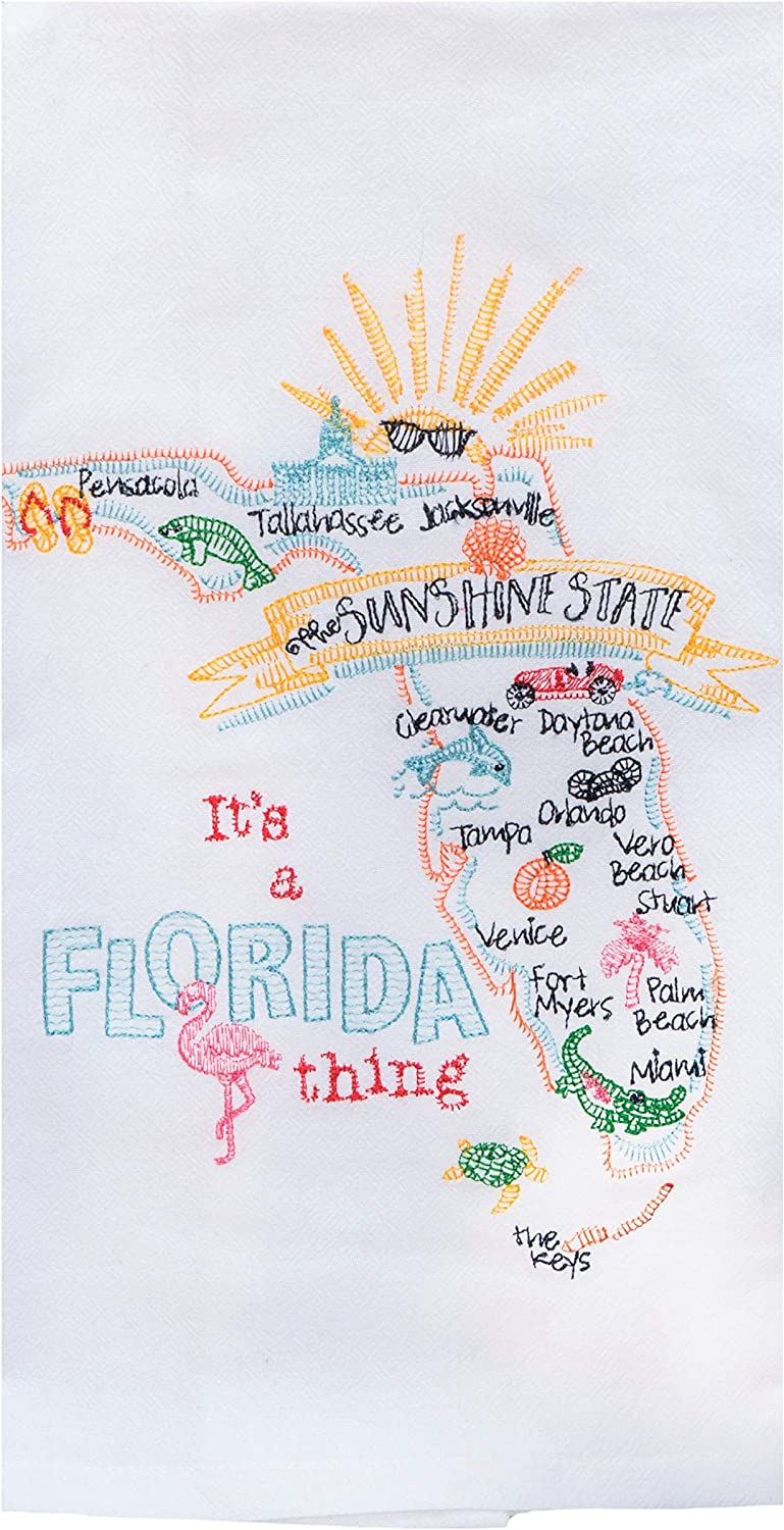 Kay Dee Designs Florida Map Home State /& Souvenir Embroidered Dish Towels Bundle Set of 2 Sunshine State Kitchen Towels