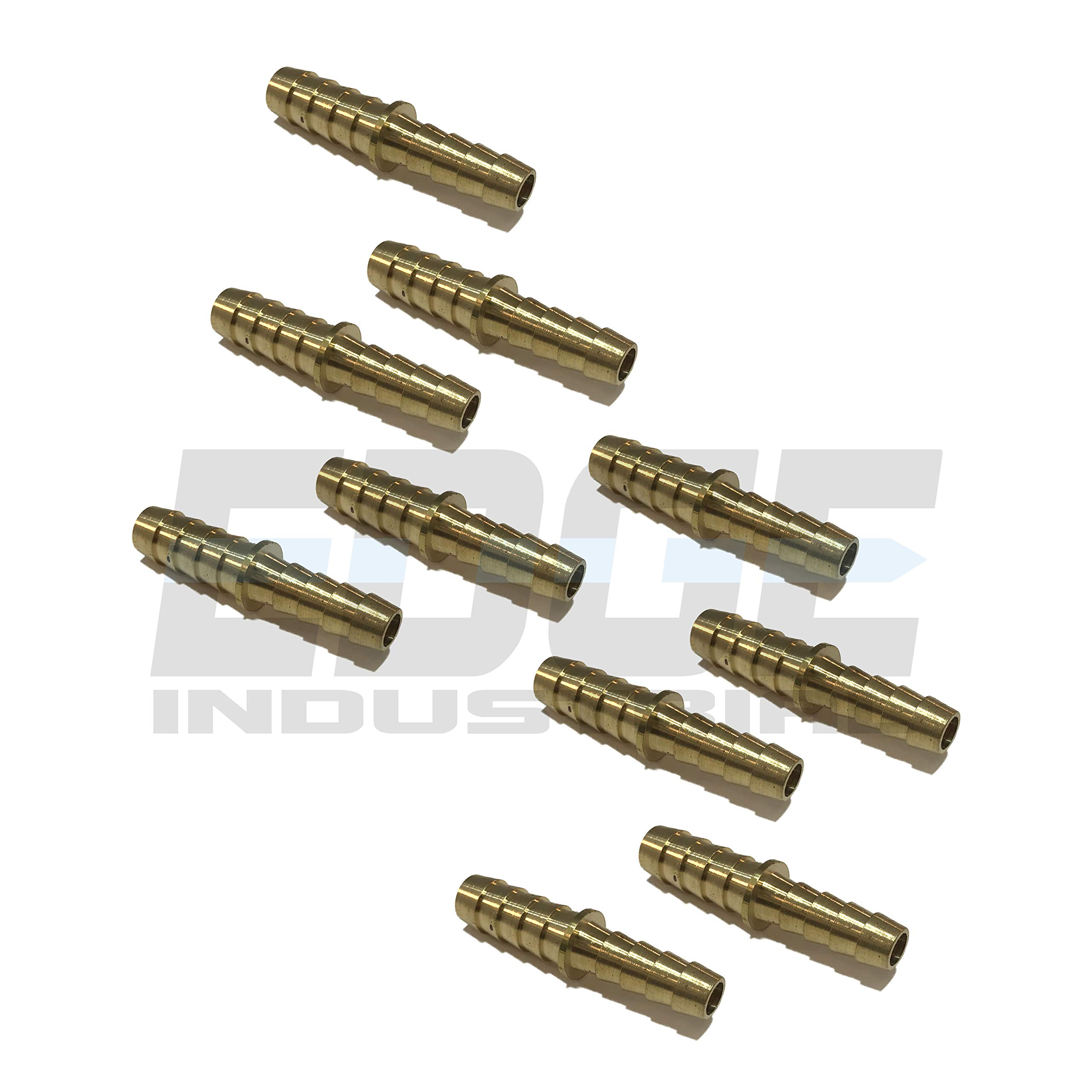 EDGE INDUSTRIAL 3/8'' X 5/16'' Hose ID Brass Barb Reducer SPLICER Fitting Fuel / AIR / Water / Oil / Gas / WOG (Qty 10) by EDGE INDUSTRIAL (Image #1)