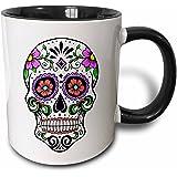 3dRose mug_186236_4 Sugar Skull, Pink Two Tone Black Mug, 11 oz, Black/White
