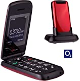 TTfone Star Big Button Simple Easy To Use Clamshell Flip Mobile Phone with O2 Pay as You Go - Red
