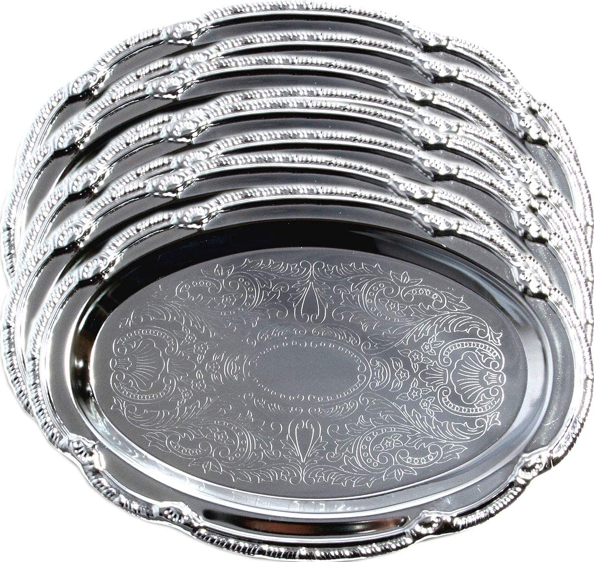 Maro Megastore (Pack of 8) 7-Inch x 4-Inch Oval Shape Chrome Plated Serving Tray Plate Food Art Deco Floral Pattern Engrave Party Wedding Birthday Platter Plate Gift base (Extra Small) T125XS-8PK