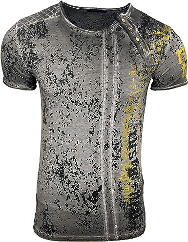 Rusty Neal A1-RN-15191 - Camiseta para hombre (corte ajustado, lavada), diseño de estrellas lavadas: Amazon.es: Ropa y accesorios