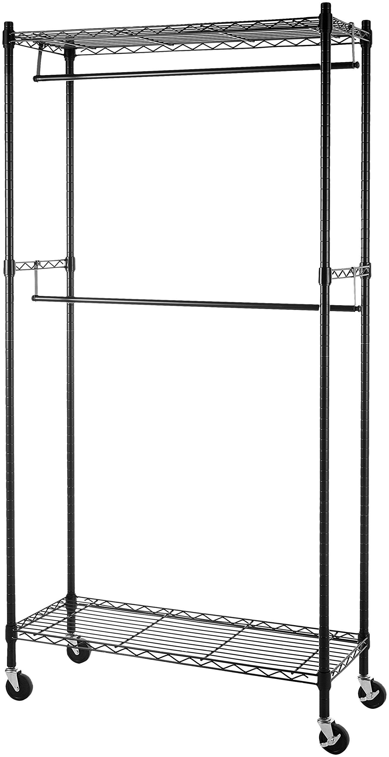 AmazonBasics Double Hanging Rod Garment Rolling Closet Organizer Rack, Black - Garment rack with upper and lower hanging rods, plus side-swing adjustable-height arm hanger Top and bottom adjustable-height shelves, each measuring 14 inches long by 36 inches wide 400-pound weight capacity when not moving; 200-pounds weight capacity when moving - entryway-furniture-decor, entryway-laundry-room, coat-racks - 81MPz bmpVL -