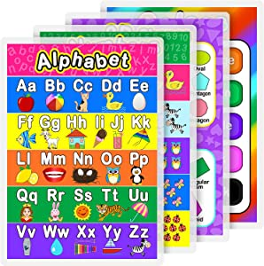 Laminated Preschool Poster for Toddlers and Kids, 4 Pieces Full Laminated Posters Alphabet, Number 1-10, Shapers, Colors for Nursery Homeschool Kindergarten Classroom, 16.9 x 11.9 Inch