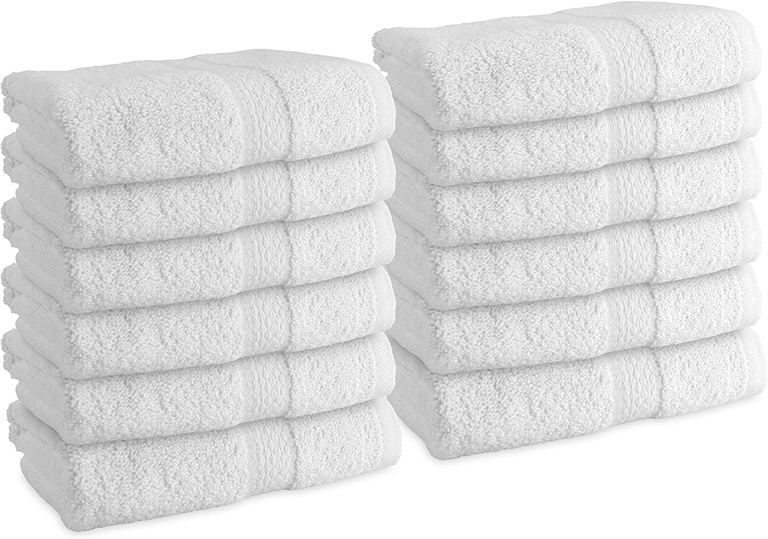 Arkwright Admiral White Hand Towels for Bathroom (Large Size 16 x 30 in, 12-Pack) - for Bathroom, spa, Kitchen