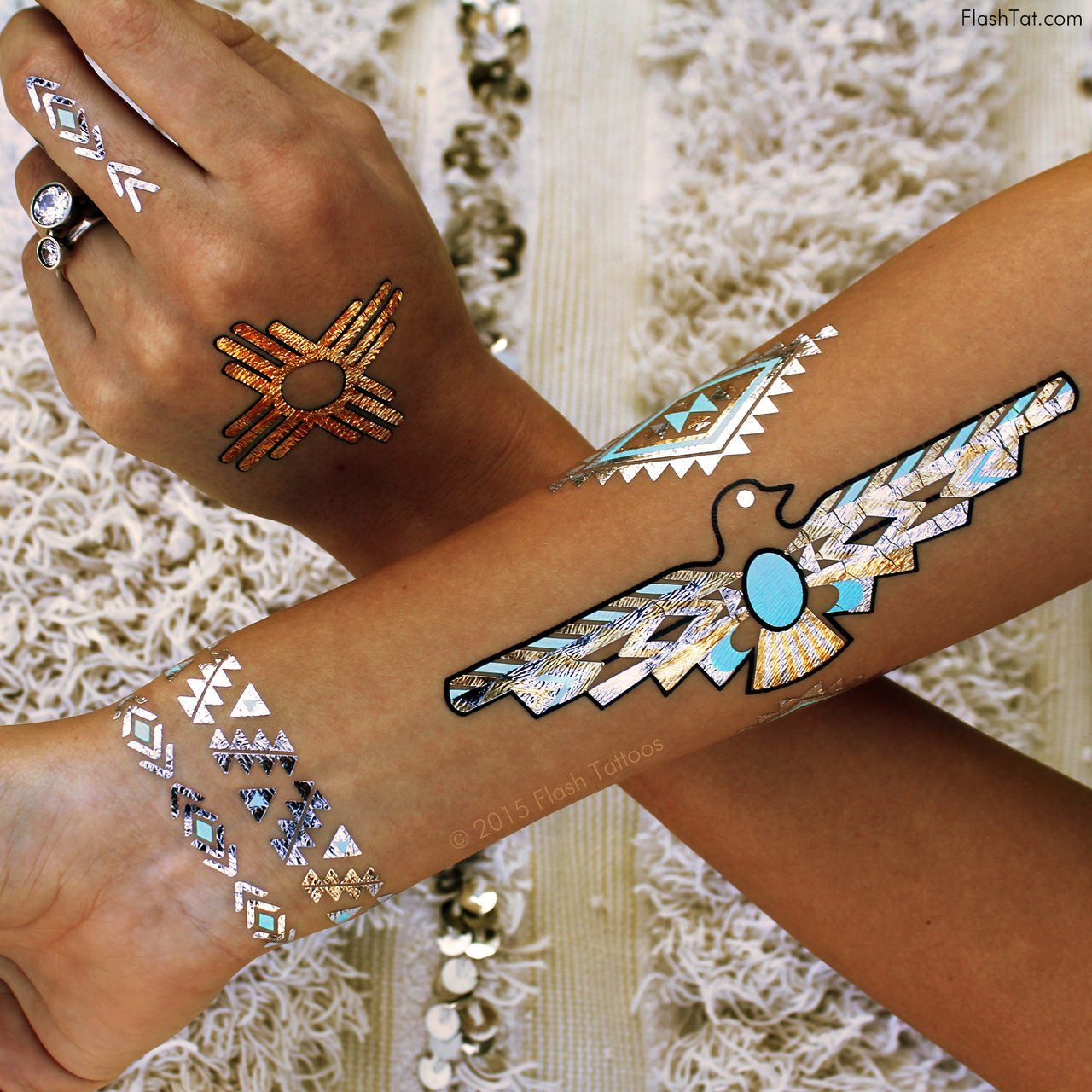 WILD CHILD BUNDLE from Flash Tattoos includes the Child of Wild pack (4-sheets) and Desert Dweller pack (4-sheets) over 70 premium festival inspired waterproof metallic temporary jewelry tattoos by Flash Tattoos (Image #4)