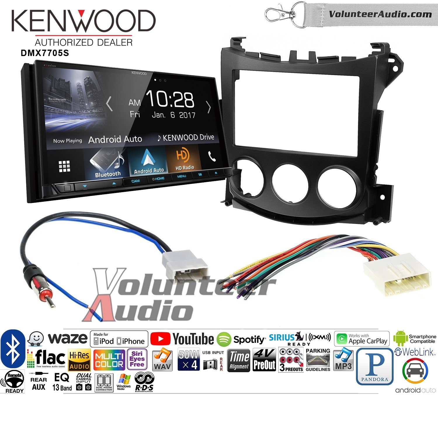 Volunteer Audio Kenwood DMX7705S Double Din Radio Install Kit with Apple CarPlay Android Auto Bluetooth Fits 2009-2016 Nissan 370Z