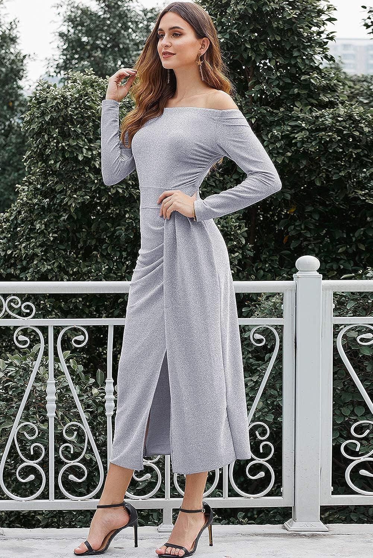 Hotgreenpepper Womens Metallic Glitter Off The Shoulder High Waisted Evening Party Dress