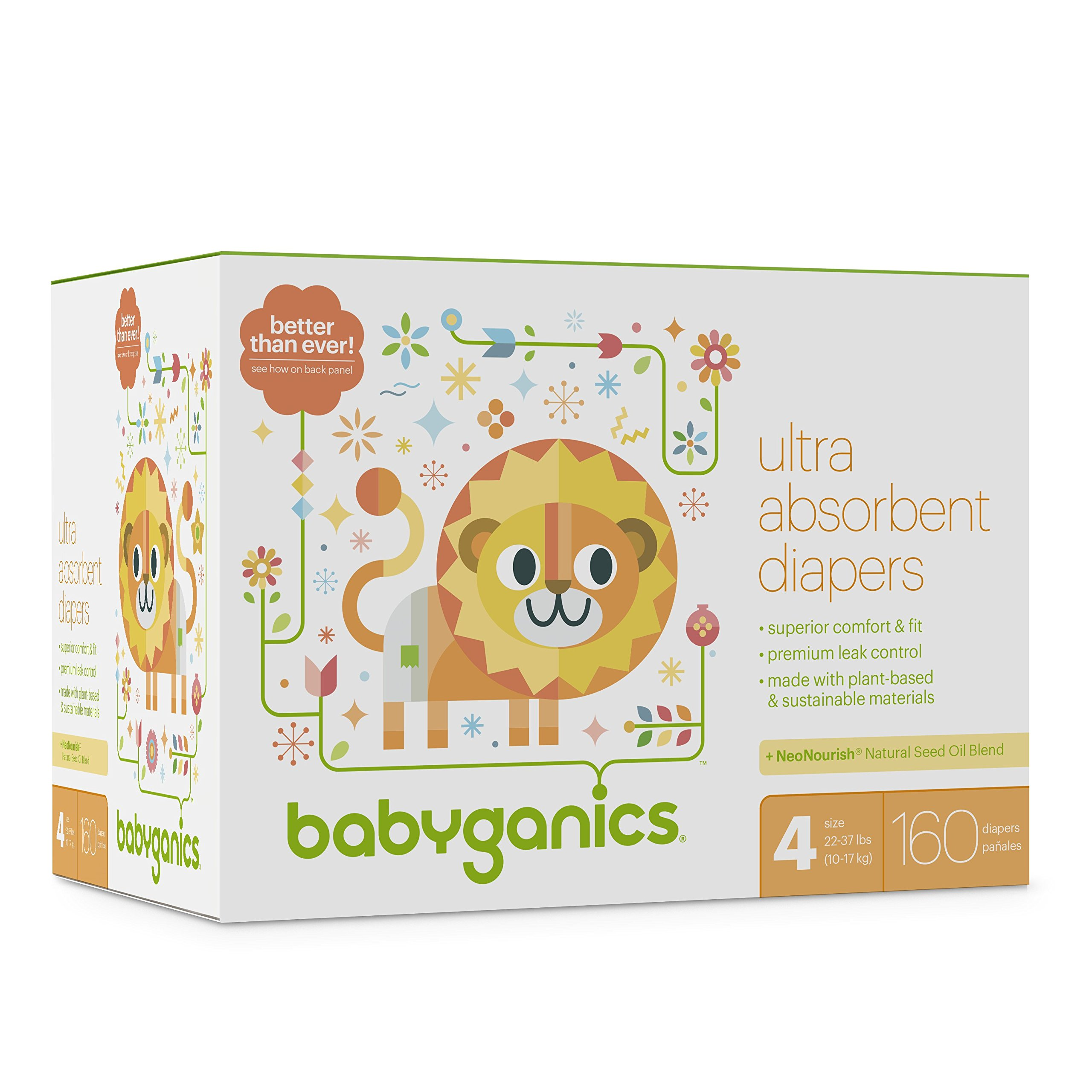Diapers, Size 4, 160 ct, Babyganics Ultra Absorbant Diapers, Packaging May Vary by Babyganics