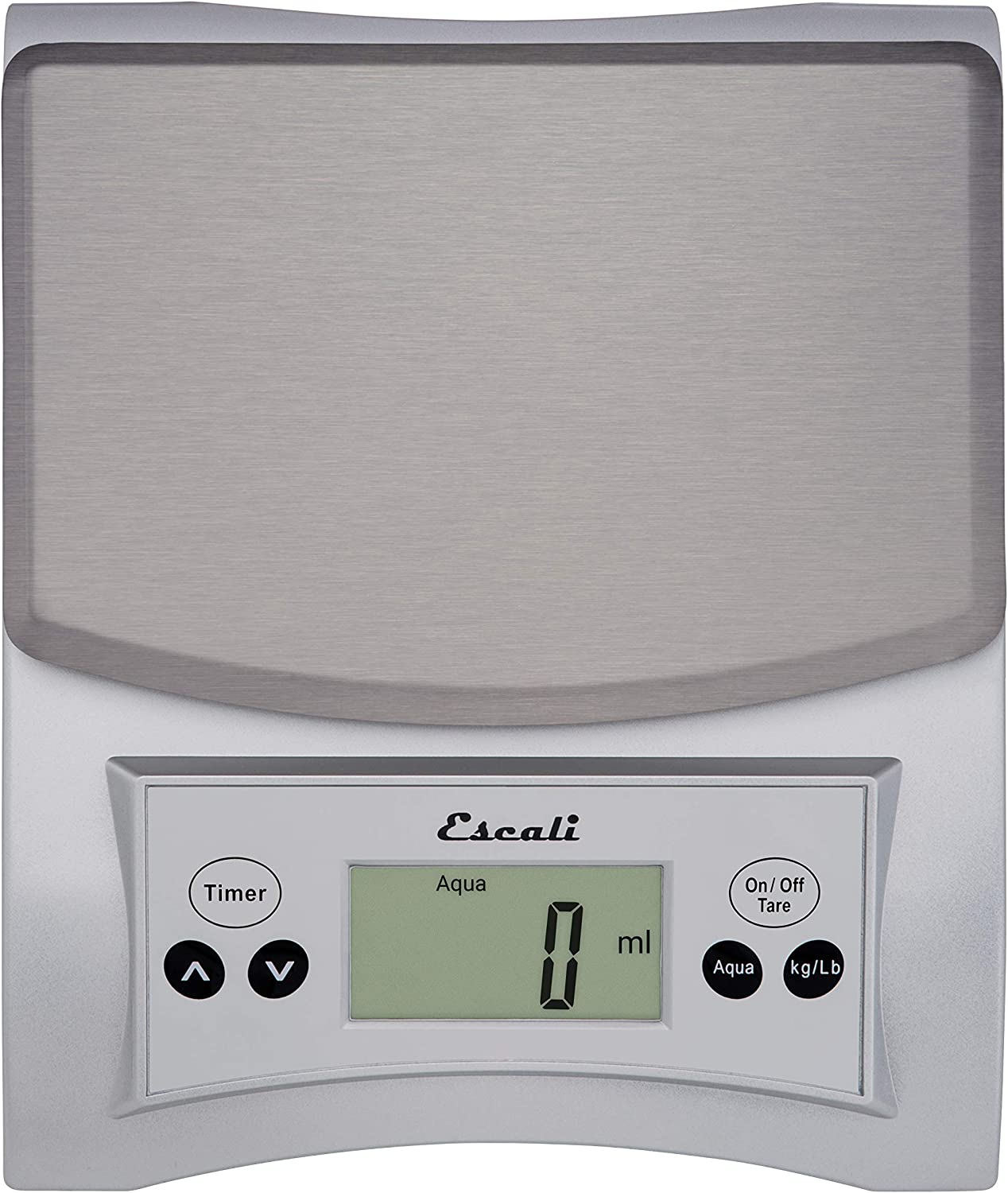 Escali Aqua A115S Scale for Liquids, Measures Specific Garvity, Removable Stainless Steel Platform, Built in Timer, Digital LCD Display, 11lb Capacity, Silver Grey