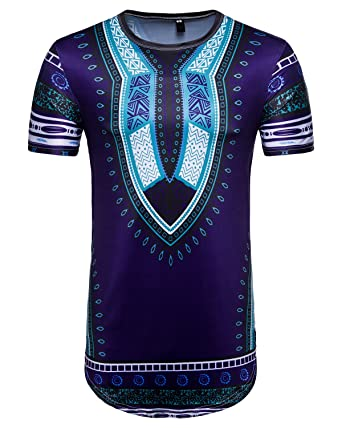 f5a2c377e736b Image Unavailable. Image not available for. Colour: sankill Men's Dashiki  Shirt Short Sleeve Traditional African Print Color Festival Tops ...