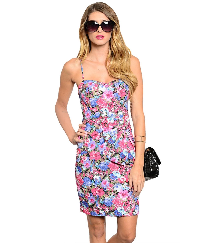 Sommerkleid / Frühlingskleid / Minikleid von ark & co mit fröhlichem Blumendruck im Corsage-Stil - pink, blau, grün, schwarz