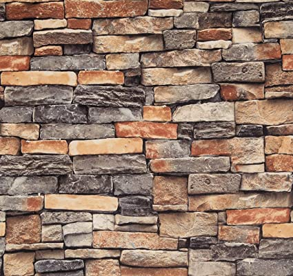 Stone Brick Contact Paper Thicken Splicable Waterproof Wallpaper Peel and  Strick Wallpaper 3D Removable Easy to Installation Indoor Wall DIY Design