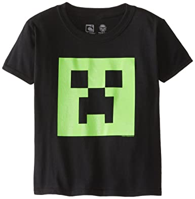 f48ced8d0 Amazon.com: Minecraft Boys Creeper Glow In The Dark Face Youth Tee, Black,  X-Large: Clothing