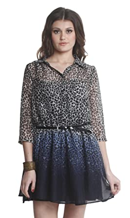 The Gud Look Women s Lucinda Animal Print Tie And Die Shirt Dress  (100001301 e027d5fe3
