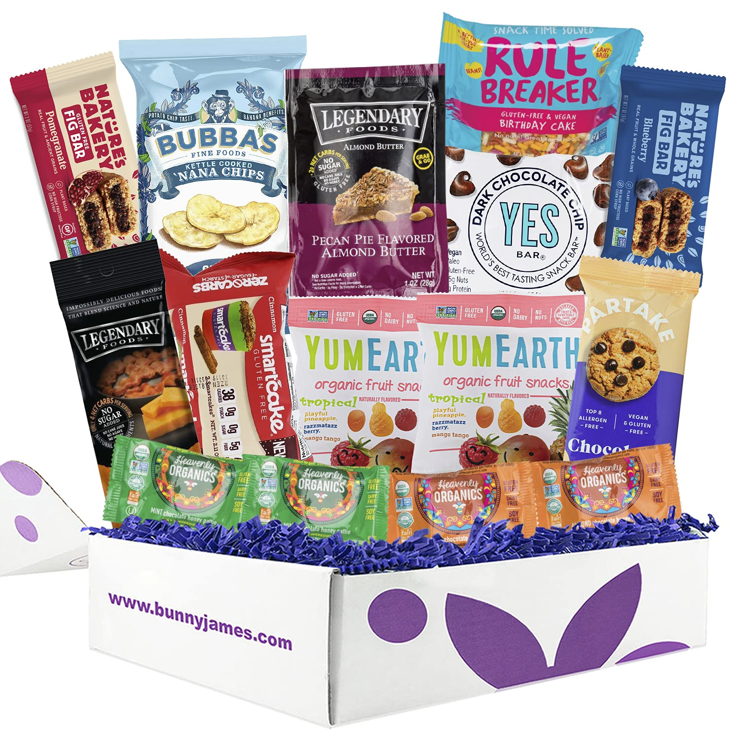 Gluten Free Snack Care Package: Gluten Free Box Contains a Variety of Healthy Sweet & Savory Gluten Free Chips, Chocolates, and Nuts.