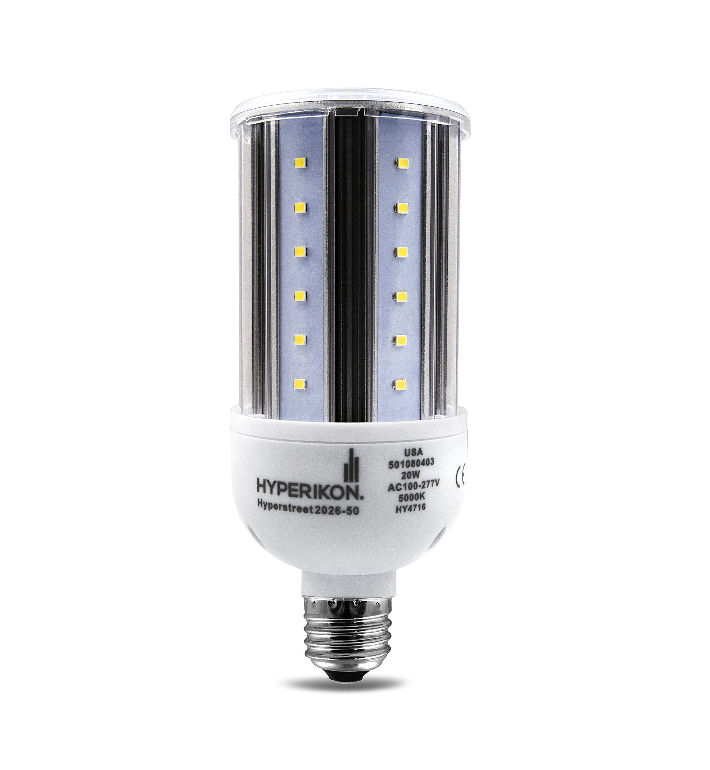HyperSelect 20W LED Corn Light Bulb, Street and Area Light, E26 Medium Screw Base, 150 Watt Equivalent, Metal Halide Replacement, 2600 lumen, 5000K (Crystal White Glow), 360° Light, UL Listed