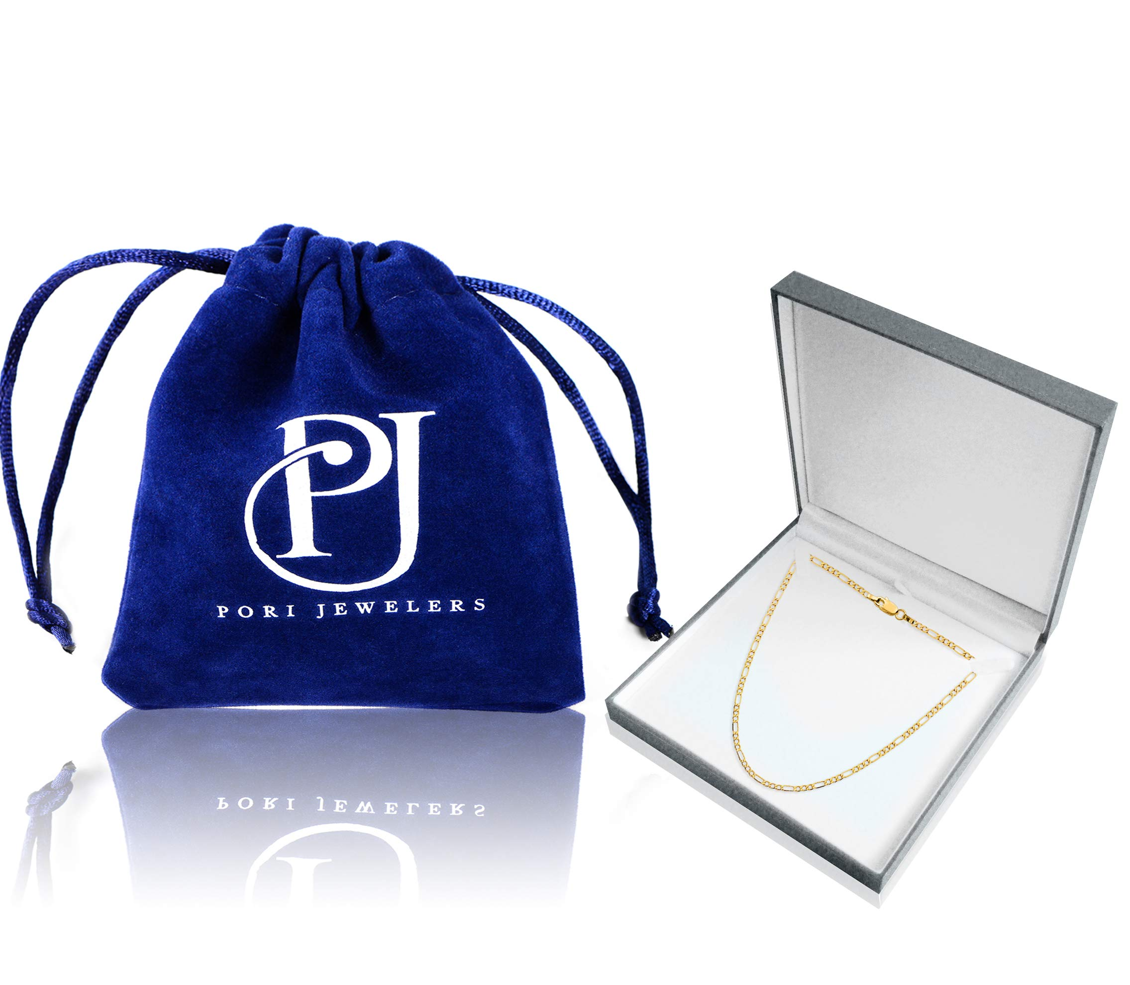 14K Yellow Gold 3.5mm Figaro Link Chain Necklace- Made In Italy- Multiple Lengths Available (26.0)