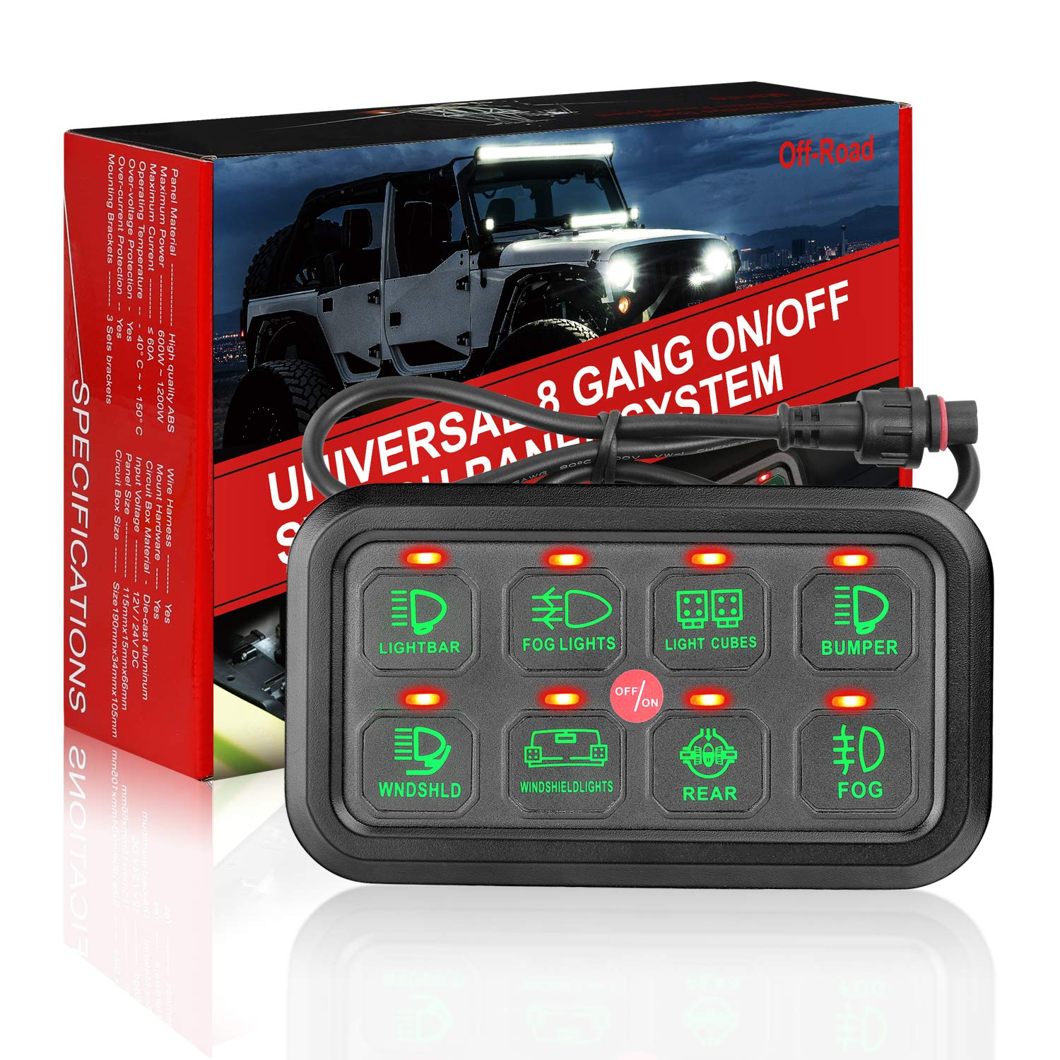8 Gang Switch Panel Kit, Auto Power Plus Circuit Control Box Electronic Relay System Universal ON/Off Touch Switch Box with Harness and Label Stickers For Truck Jeep ATV UTV Boat Marine by Auto Power Plus